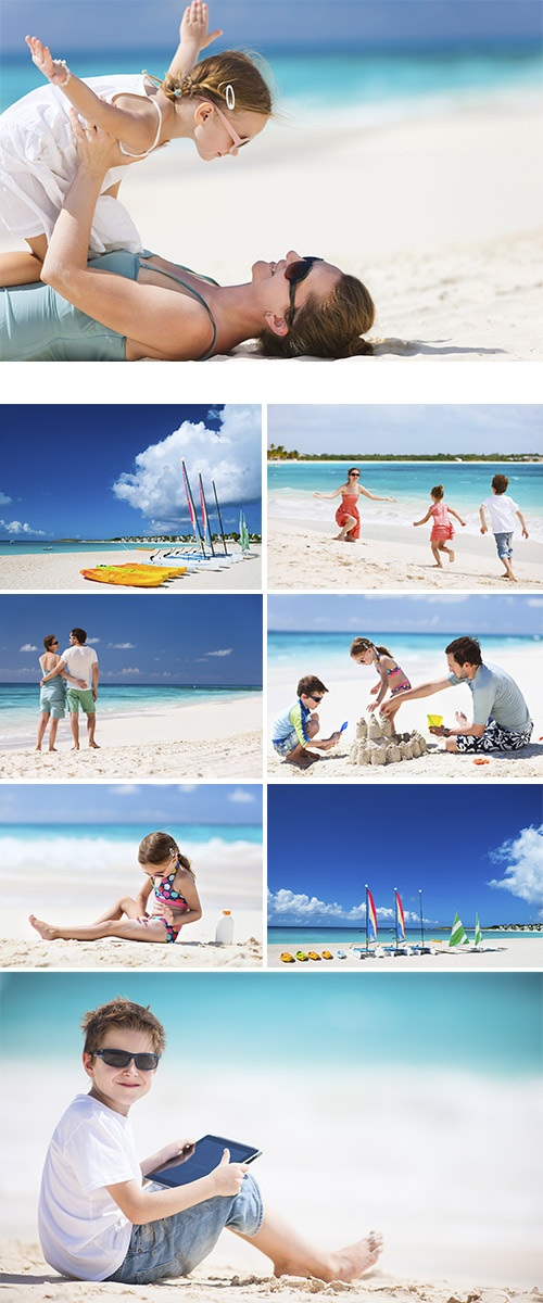 Stock Photo: Family on a beach 7