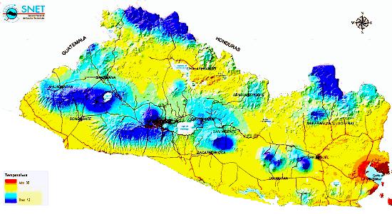 Mapa de zonas climáticas de El Salvador