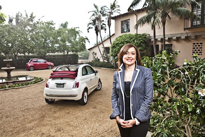 Laura Soave with Fiat 500c