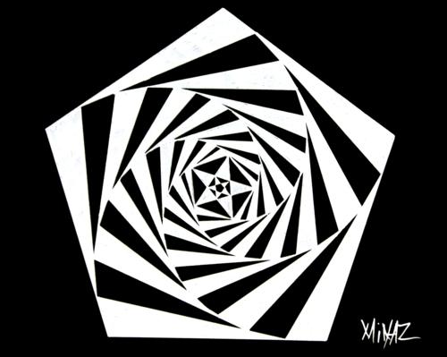 Polygon, 5 sided star with spiral by Minaz Jantz