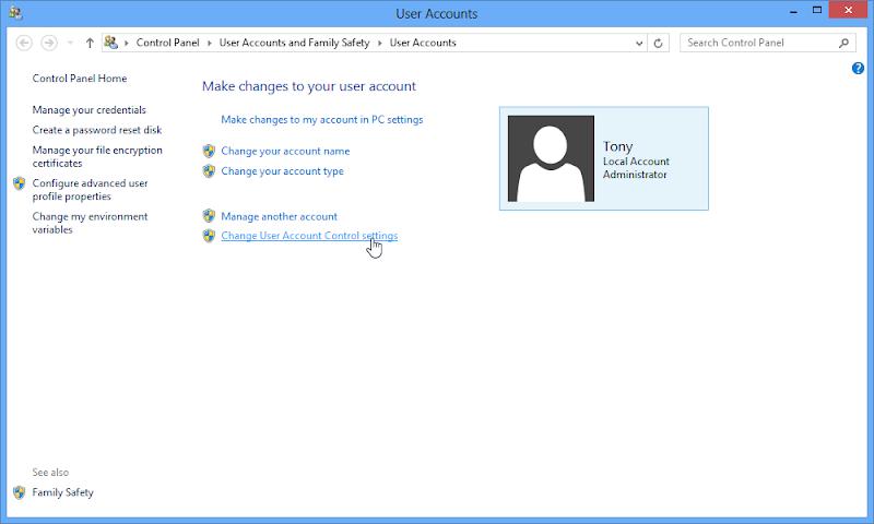 ปิดการทำงานของ UAC (User Account Control) ใน Windows 8 W8useracc02
