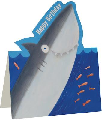 die cut birthday cards - shark birthday card