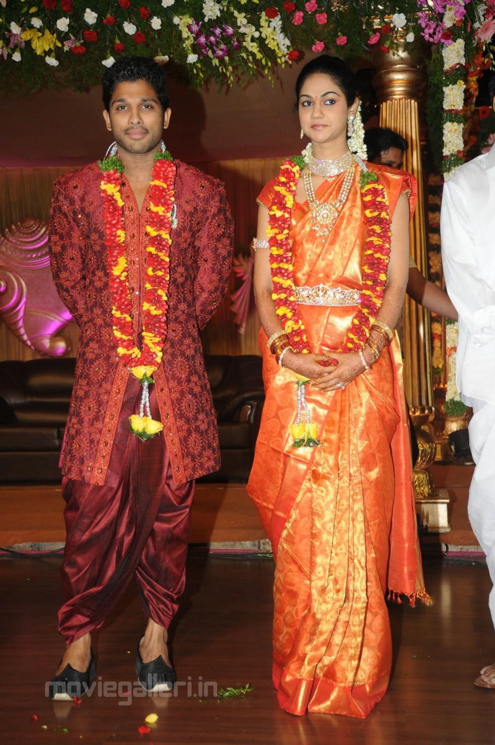 allu arjun sneha reddy marriage reception photos gallery stills