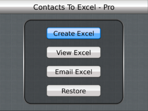 Contacts To Excel Professional v2.0 BlackBerry Apps