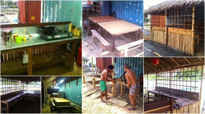 Construcción de la cocina y comedor exteriores.