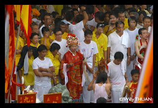 Devotees at the Phuket Vegetarian Festival