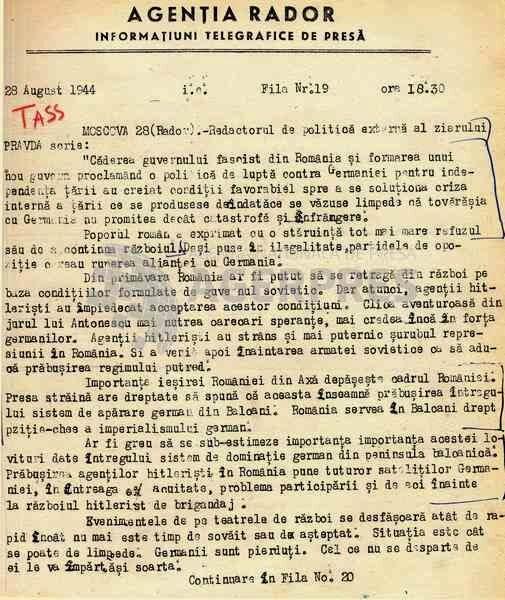 Comentariul ziarului Pravda din 28 august 1944 despre evenimentele din România, preluat de RADOR