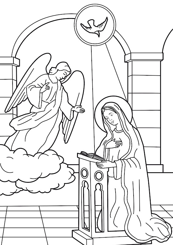 Annunciation of the angel of the virgin mary coloring pages title=