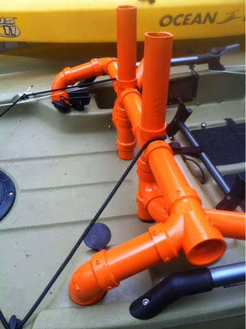 Ocean kayak rod holders milk crate on top of rigged for Fissot fishing kayak for sale