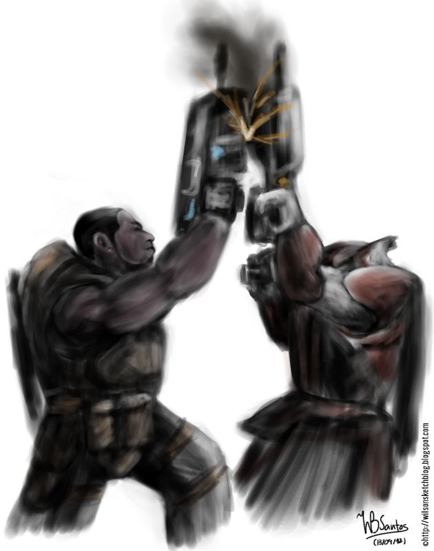 Speed painting of Cole (Gears of War) dueling locust with his lancer.