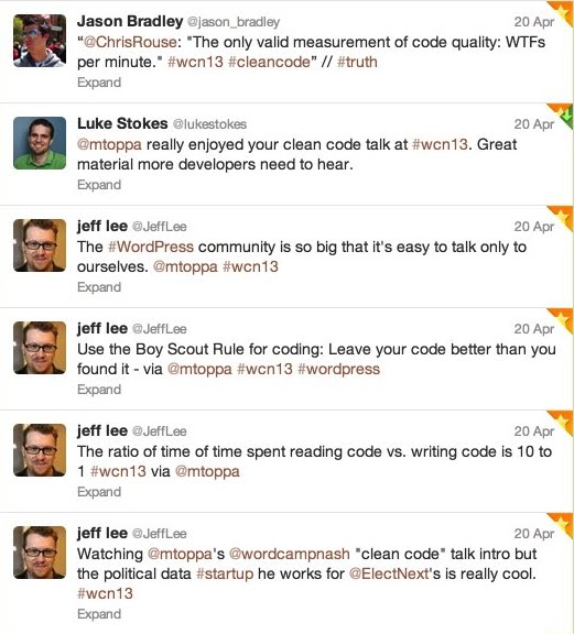 Tweets about the 'Clean Code' talk at WordCamp Nashville 2013