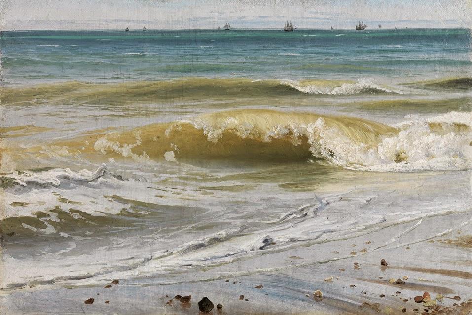 Johann Wilhelm Schirmer - Breaking Waves with Distant Ships, 1836