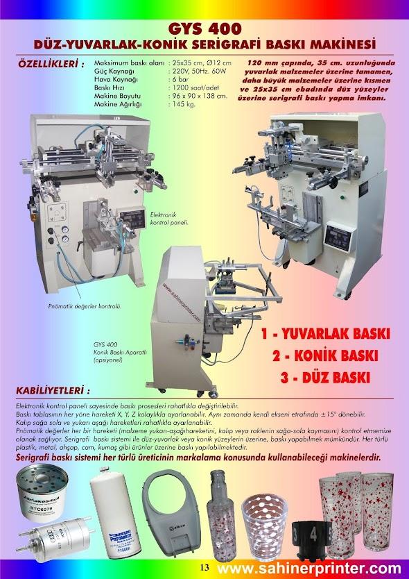 13-GYS 400 25x35cm Düz 12cm Yuvarlak Serigrafi Baskı Makinesi