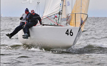 J/24 one-design sailboat- sailing upwind