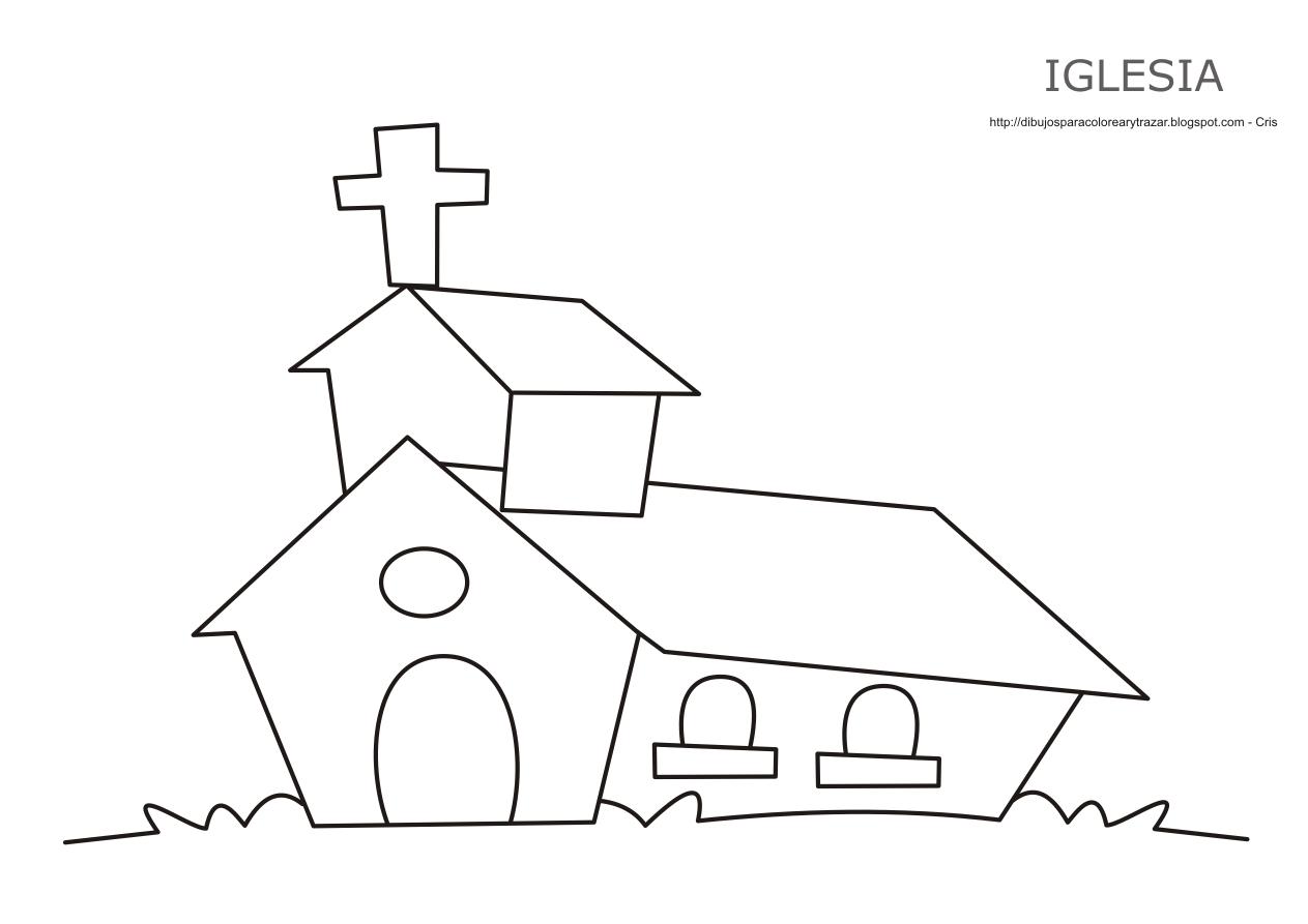 Dibujo de la iglesia para imprimir, colorear y pintar