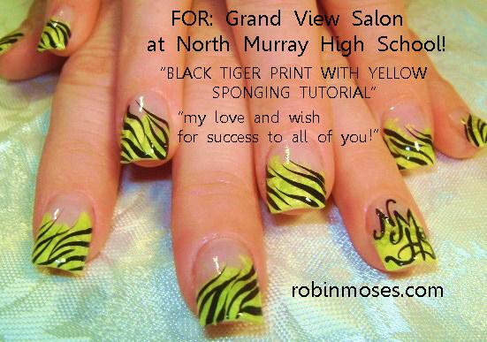 Team Edward Nail Art Design Black And Yellow Black And Yellow Nail