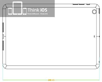 iPadminiの背面図:左上にリアカメラがある。