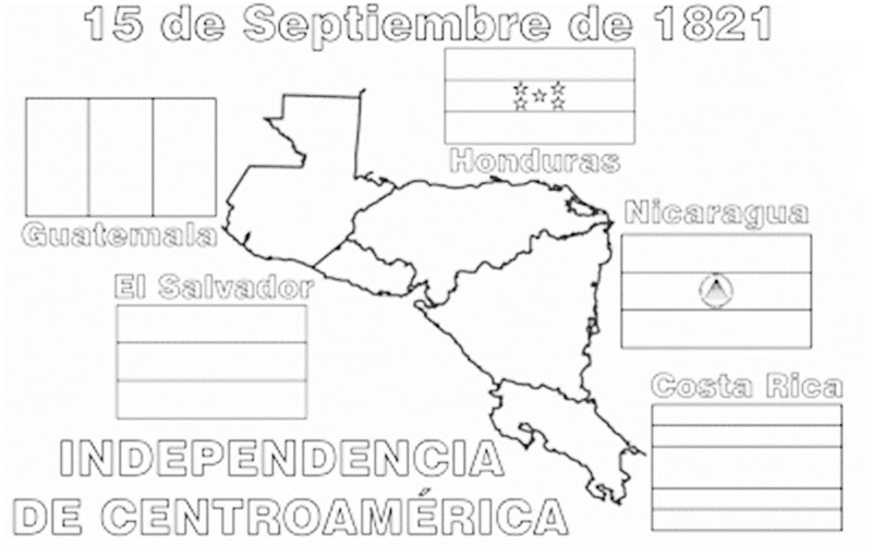 images of central america independence coloring pages