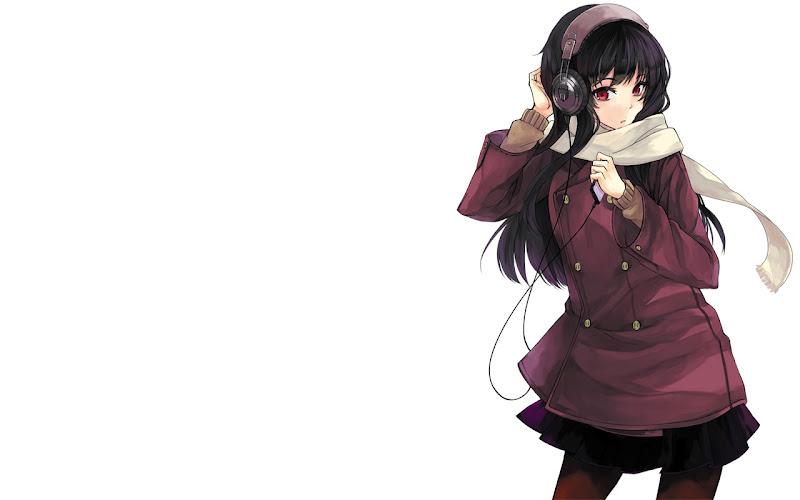anime black hair Anime Girl with Headphones WallpaperAnime Girl With Black Hair