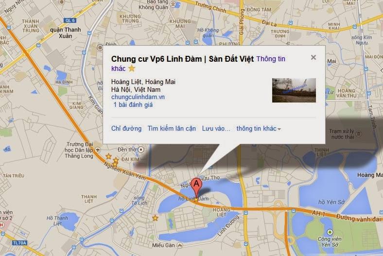 Bản đồ Vị trí Chung cư Vp6 Linh Đàm
