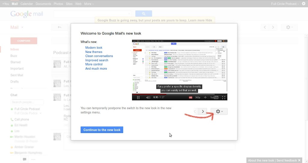 New Look Gmail: Welcome screen