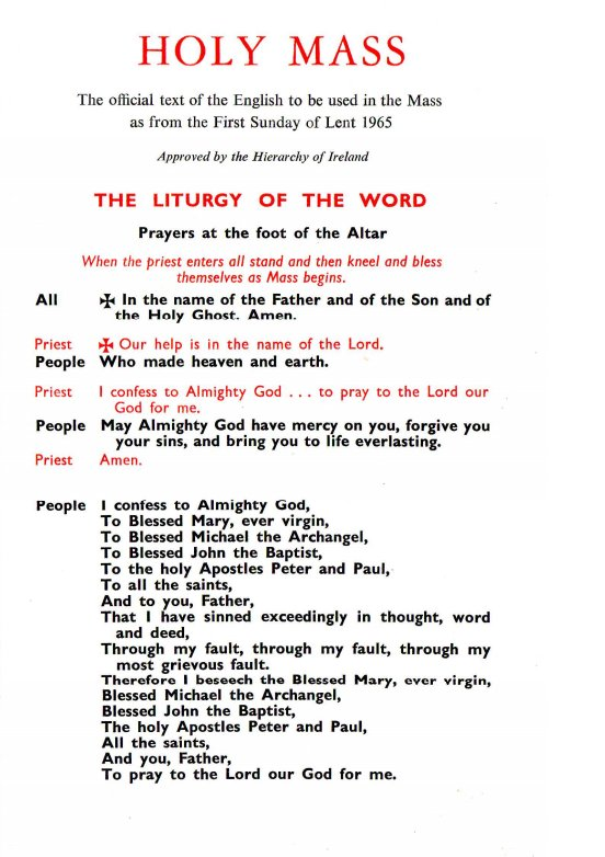 1965 texts and 2010 texts for the Mass