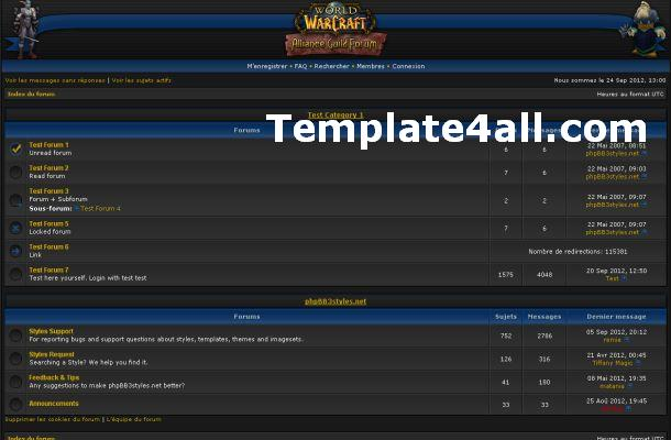 Warcraft Blue Grey Phpbb Style Theme Template