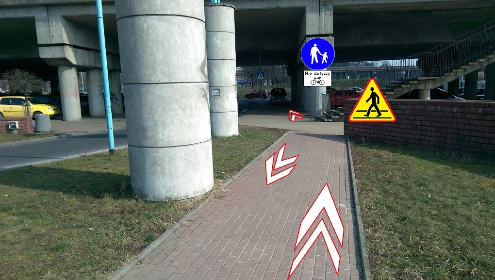 Objazd wymagałby dostawienia znaków i ostrożności ze strony rowerzystów