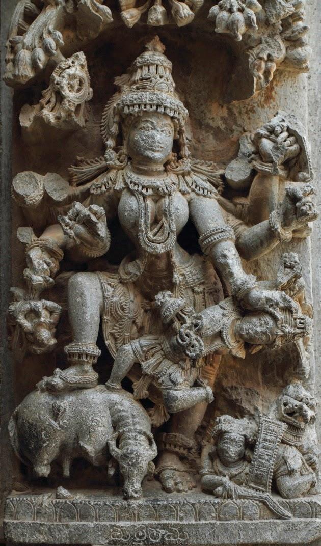 Very detailed Mahisasura Mardini Statue at Somnathpur