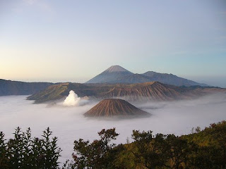 Mountain Bromo is the white-plumed, higest: Mount Semeru - Indonesian Mountain