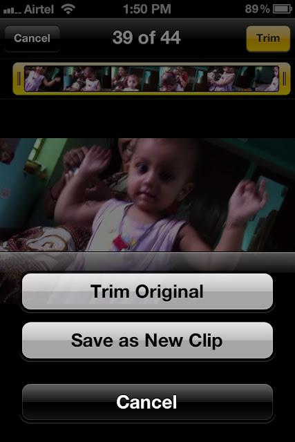 Trim videos in iPhone or iPad