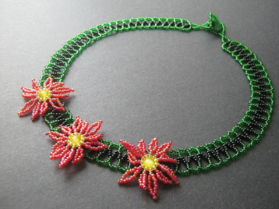 Beaded Poinsettia Collar Necklace