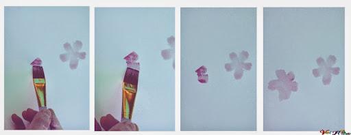 vẽ hoa anh đào bằng màu nước (Bước 1)
