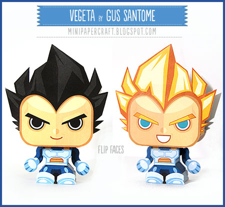 Dragon Ball Mini Vegeta Paper Toy