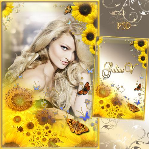 Цветочная рамка - Бабочки в подсолнухах