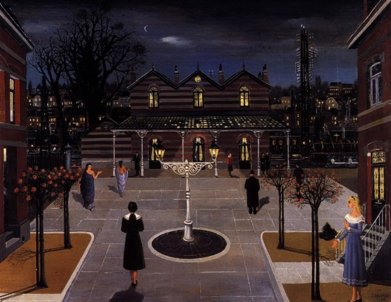 Paul Delvaux - Small square station, 1963