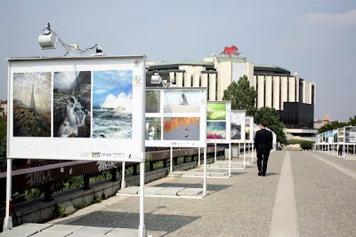 Photography exhibition outside of the Palace of Culture in Sofia Bulgaria