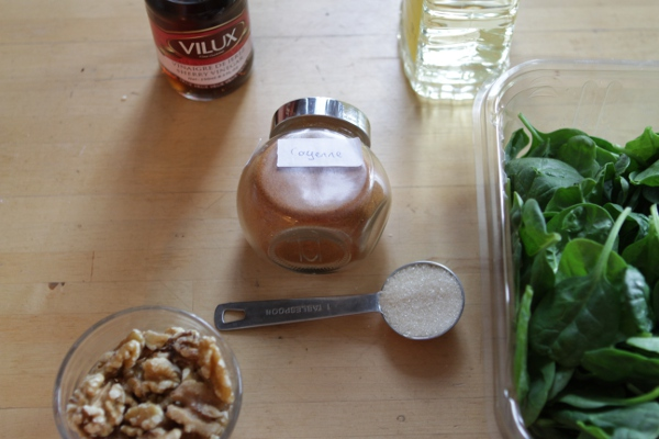 Some of the ingredients for this composed salad.