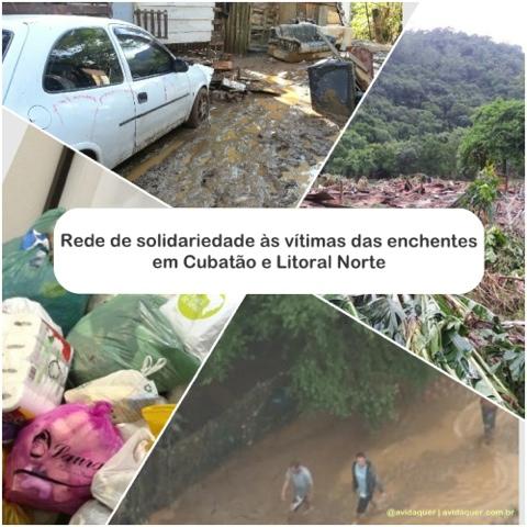 chuvas em Cubatão, como ajudar Cubatão, enchente em Cubatão, ajudar vitimas de Cubatão, enchentes no litoral norte, Rede de solidariedade