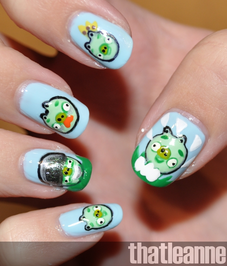 Pig Nail Art: Thatleanne: Angry Birds Nail Art Feat. The Piggies