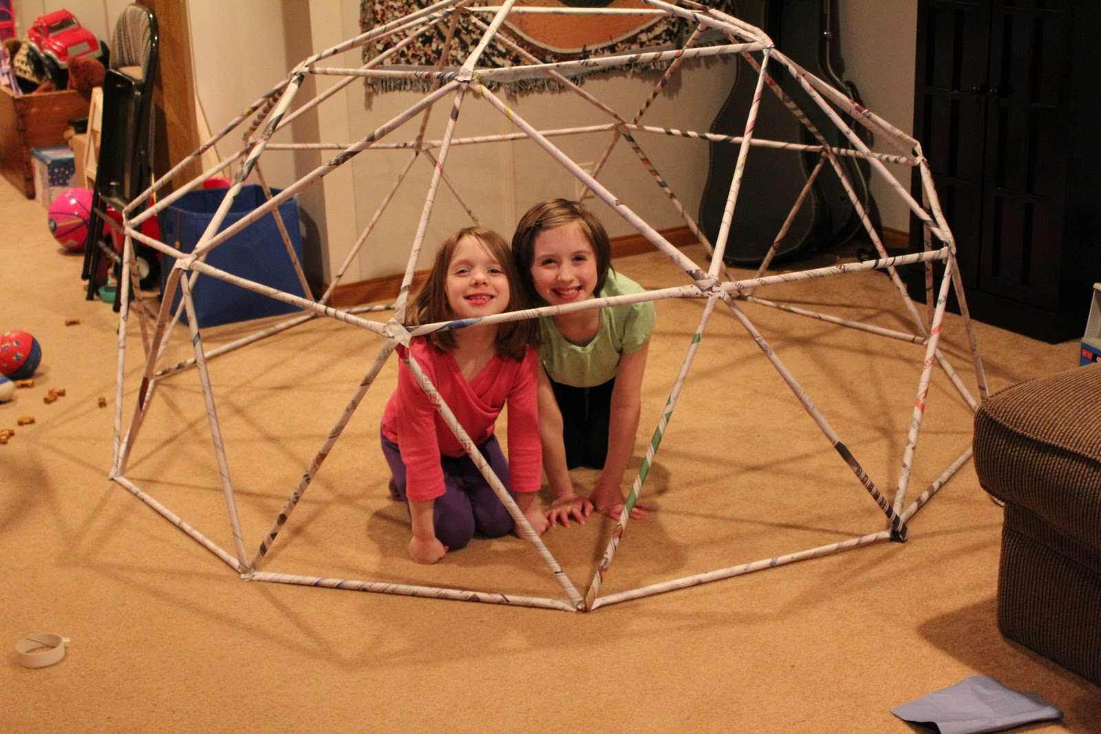 how to build a geodesic dome out of newspaper