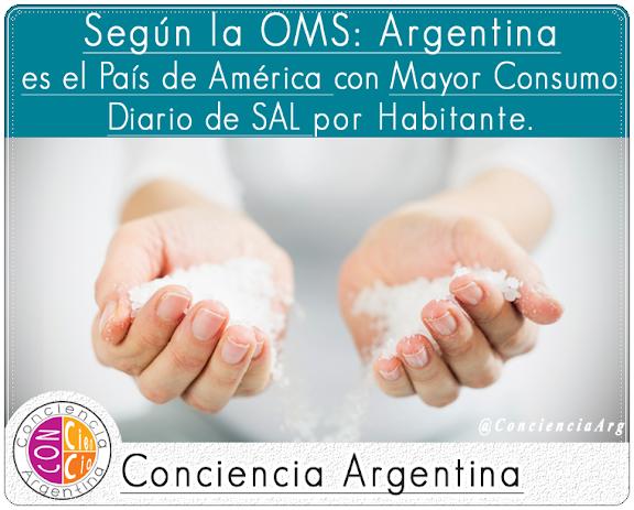 Argentina: El País de América con Mayor consumo de SAL por Habitante