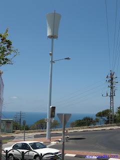 Cellphone tower camouflaged as a light post