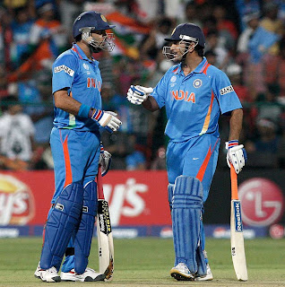 Yuvraj Singh and MS Dhoni shared 67-run stand, India v Ireland, Group B, World Cup 2011, Bangalore, March 6, 2011