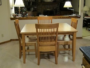 Custom Dining Table and Harvest Chairs in Natural Hard Maple & Cherry
