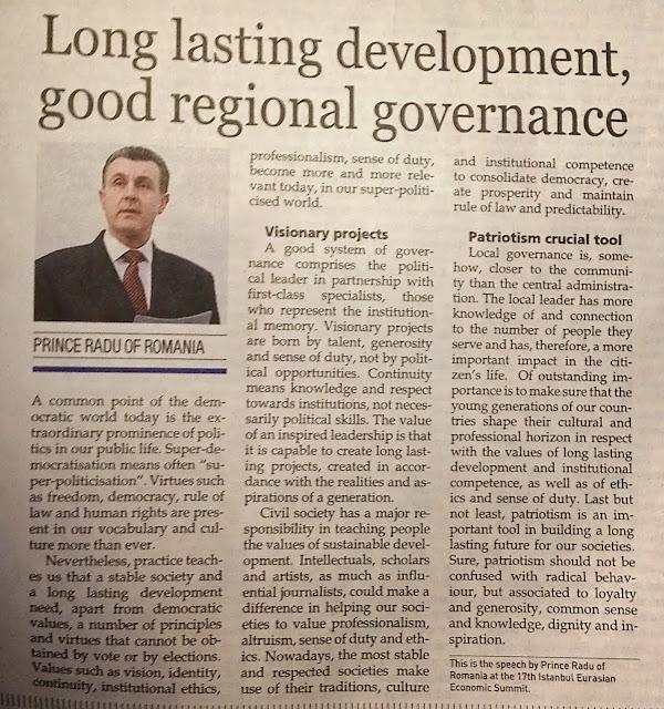 Hurriyet Daily News publică discursul Principelui Radu la Summitul Economic Eurasiatic Marmara