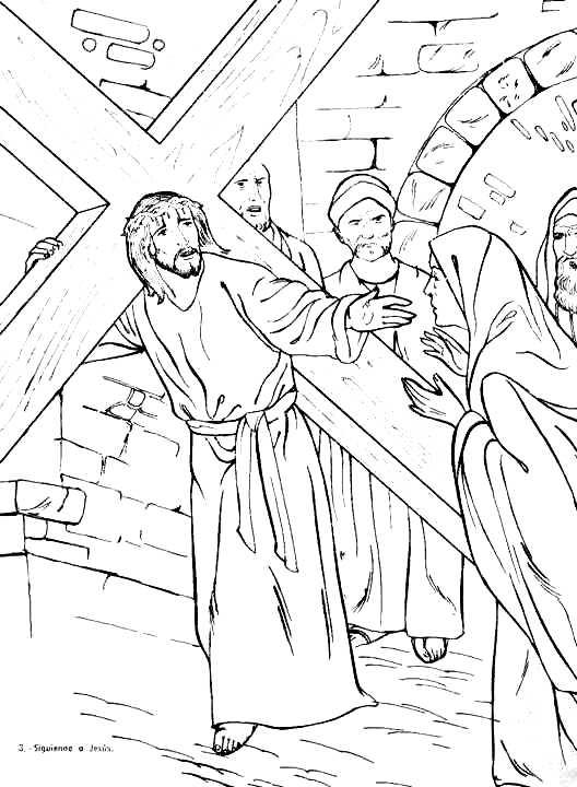 Imágenes de Jesús encontrandose con su madre para colorear