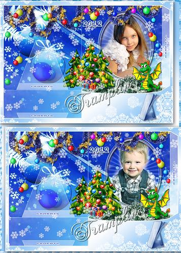 Новогодняя рамка-открытка 2012 - А снежинки кружатся - все им нипочем - в легких платьях с кружевцем, с голеньким плечом