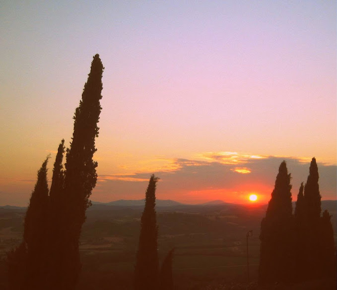 Sunset view of Maremma's hills from Castello Banfi