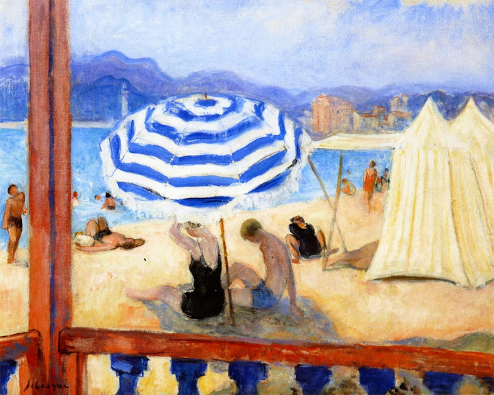 Henri Lebasque - Cannes, Blue Parasol and Tents